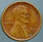 1921 S Lincoln Cent Choice XF-40 Corrosion  obverse