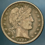 1901 Barber Half Dollar Choice VF-35