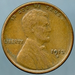 1913 S Lincoln Cent XF-40 Small nick obverse