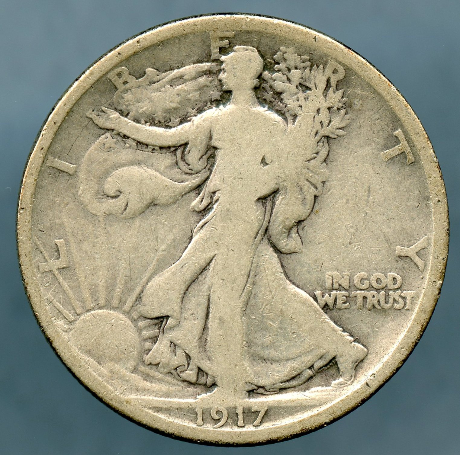1917 S Reverse Walking Liberty Half Dollar Very Good