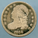 1836 Bust Dime Very Good Cuts on obverse.