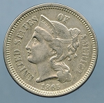 1865 Three Cent Nickel AU 50 details cuts obverse and reverse