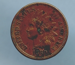 1880 Indian Cent XF details corrosion obv.and rev.