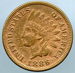 1886 Indian Cent XF details pock marks on obv. and rev.