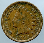 1889 Indian Cent XF details light corrosion obverse and reverse