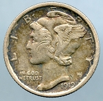 1919 Mercury Dime XF details cuts on obverse