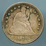 1878 Seated Quarter VF details light cuts on reverse