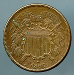 1866 Two Cent Piece XF details corrosion obverse and reverse