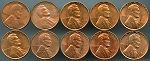 1960 Lincoln Cent Small Date 10 piece lot Uncirculated with problems