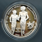 1995-P Olympic Blind Runner  Silver Dollar Impaired Proof