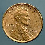 1925 Lincoln Cent MS 63 details cleaned