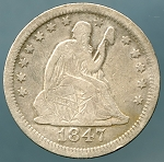1847-O Seated Quarter Fine plus details Obverse damage