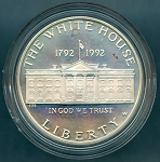 1992-W White House Commemorative Silver Dollar - Impaired Proof - In Capsule