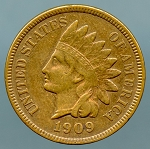 1909 Indian Cent XF 40 cleaned