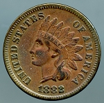 1882 Indian Cent VF plus cleaned
