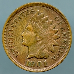 1901 Indian Cent XF 45 cleaned