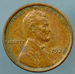 1921 Lincoln Cent XF 45 corrosion obverse