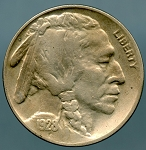 1928 S Buffalo Nickel VF 35 details lightly cleaned