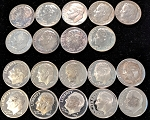Impaired 90% Silver Proof Roosevelt Dimes - 19 Different Dates.