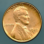 1929 S Lincoln Cent MS 63 details cleaned