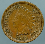 1864 BR. Indian Cent Fine details corrosion on reverse