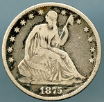 1875 Seated Half VG details light corrosion on reverse