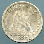 1887 Seated Dime Fine details corrosion obverse