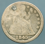 1845 Seated Dime Cull