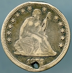 1877 CC Seated Quarter VF details hole