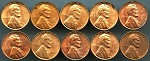 1960 Smallll Date Lincoln Cents UNC problems 10 piece lot