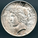 1925 S Peace Dollar MS 63 details deep hits on obverse and reverse