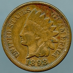1898 Indian Cent XF details cut on obverse
