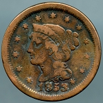 1853 Large Cent VG details discolored