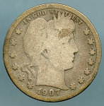 1907 S Barber Quarter Cull