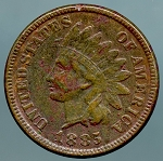 1885 Indian Cent VF details corroded