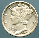 1926 Mercury Dime AU details cleaned cut on reverse