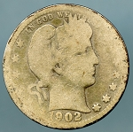 1902 O Barber Quarter Cull