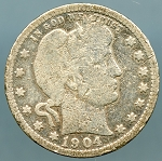 1904 O Barber Quarter Cull