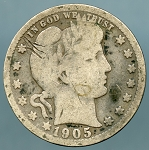 1905 S Barber Quarter Cull