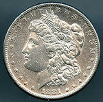1881 S Morgan Dollar AU details light rim ding reverse