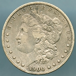 1900 S Morgan Dollar VF details rim dings reverse
