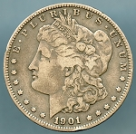 1901 S Morgan Dollar Fine details rim ding obverse cut on reverse