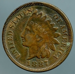 1887 Indian Cent VF details lightly corroded