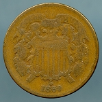 1869 Two Cent Piece VG details cuts on obverse