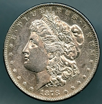 1878 S Morgan Dollar AU details cleaned