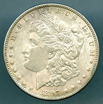 1897 Morgan Dollar AU details corrosion on reverse
