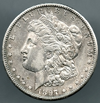 1897 S Morgan Dollar XF details cleaned