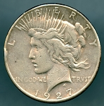 1927 S Peace Dollar VF details rims dings