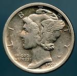 1920 D Mercury Dime VF details cleaned