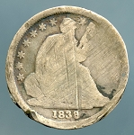 1838 Seated Dime CULL